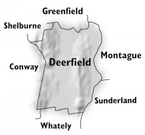 Map of Deerfield. Deerfield is located on Interstate 91, north of Northampton and south of Greenfield, MA.