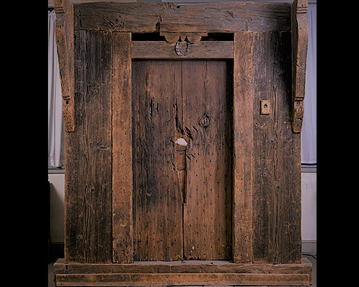 Original door from the Deerfield attack at the The Pocumtuc Valley Memorial Hall Museum, Deerfield, MA.