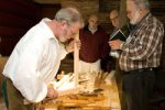 Woodworker Ted Ingram shows his skills at Historic Deerfield, Massachusetts.