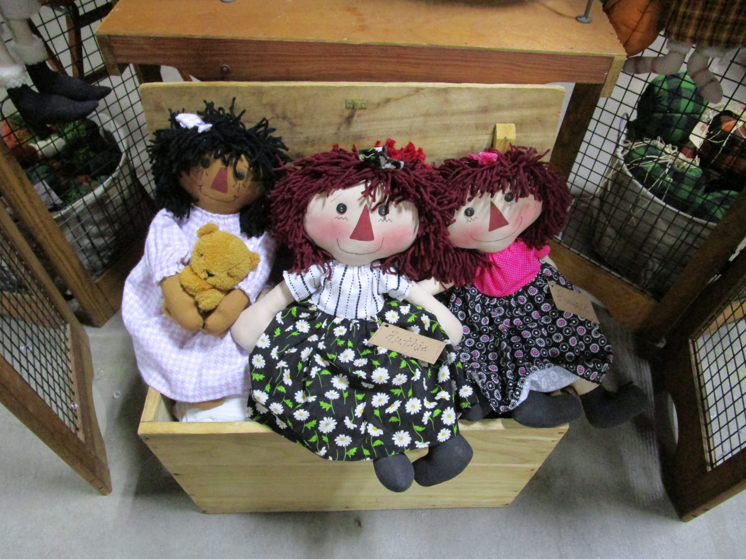 Handcrafted dolls at the Old Deerfield Crafts fair.