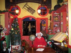 A visit to Santa's Workshop, where Mrs. Claus is working away