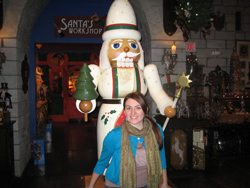 The author with the large nutcracker that welcomes visitors to Nutcracker Castle