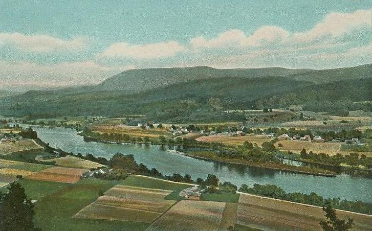 The Connecticut river looking north from Mount Sugarloaf, South Deerfield, MA.
